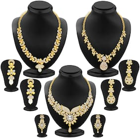 Sukkhi Intricately Gold Plated Ad  Necklace Set Combo For Women