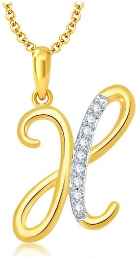 "Sukkhi Letter ""X"" Gold and Rhodium Plated CZ Alphabet Pendant for Unisex"