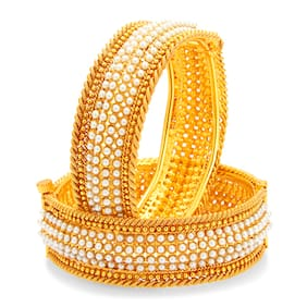 Sukkhi Marvellous Gold Plated Pearl Bangle For Women (Pack Of 10)