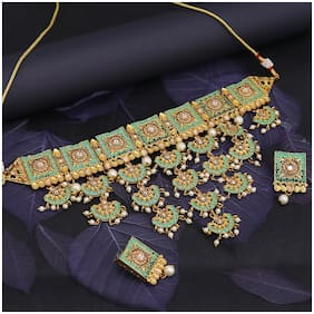 Sukkhi Marvellous LCT Gold Plated Mint Collection Choker Necklace Set For Women