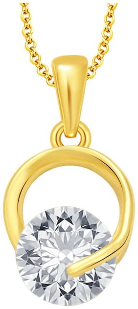 Sukkhi Modern Solitaire Gold Plated CZ Pendant For Women