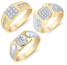 Sukkhi Modish Gold Plated CZ Set of 3 Gents Ring Combo For Men