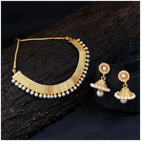 Sukkhi Glorious Gold Plated Wedding Jewellery Pearl Choker Necklace Set For Women