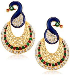 Sukkhi Glamorous Peacock Gold Plated Australian Diamond Dangle & Drop Earrings For Women