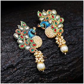 Sukkhi Glorious Pearl Gold Plated Wedding Jewellery Kundan Peacock Meenakari Dangle Earring for Women
