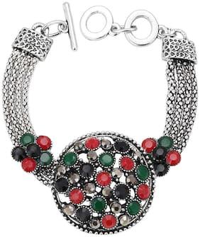 Sukkhi Pretty Oxidized Silver Bracelet With Multi Colored Stones For Women