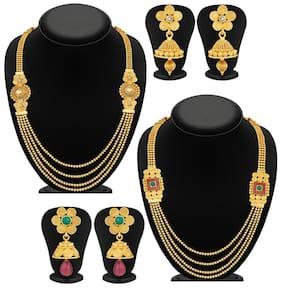Sukkhi Ravishing Jalebi 4 String Gold Plated Set of 2 Necklace Set Combo For Women
