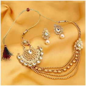 Sukkhi Ritzy Jalebi 5 String Gold Plated Kundan Necklace Set For Women