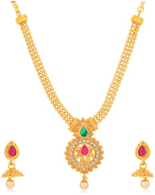 Sukkhi Shimmering Gold Plated3 String Collar Necklace Set for Women