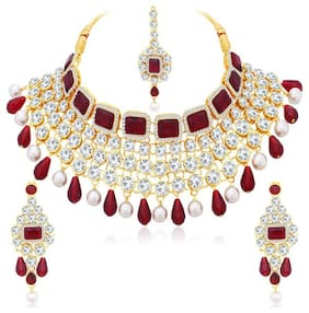 Sukkhi Spectacular Gold Plated Square Stone Choker Necklace Set For Women