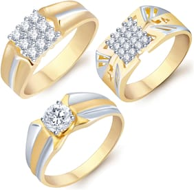 Sukkhi Stylish Gold Plated Cz Set Of 3 Gents Ring Combo For Men