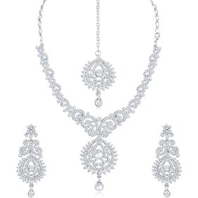 Sukkhi Stylish AD Rhodium Plated necklace set for women + Free Earphones With Mic Worth Rs. 799/-