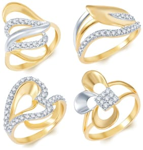 Sukkhi Sublime Gold Plated Cz Set Of 4 Ladies Ring Combo For Women