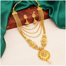 Sukkhi Traditional LCT Gold Plated Wedding Jewellery Long Haram Necklace Set for women