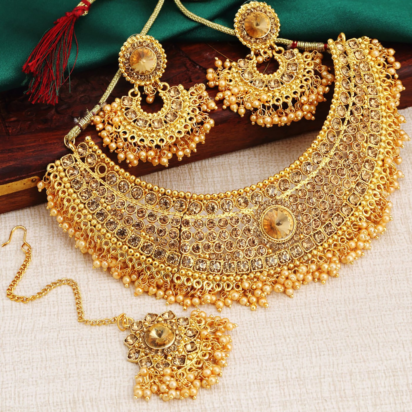 Womens Trendz Handmade Jewellery Combo Pack of Two Traditional Ethnic and Antique Gold Plated Necklace and earrings Set for Women and Girls