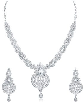 Sukkhi Traditional AD Rhodium Plated necklace set for women + Free Earphones With Mic Worth Rs. 799/-