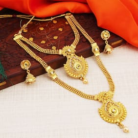 Sukkhi Traditional Gold Plated Wedding Jewellery Kundan Long Haram Necklace Set For Women