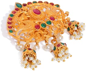 Sukkhi Traditional Peacock Gold Plated Saree Pin For Women