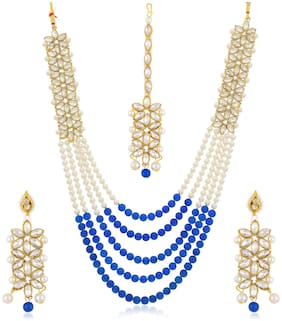 Sukkhi Trendy Long Haram Gold Plated Necklace Set for Women