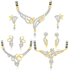 Sukkhi Trendy Gold Plated CZ Set of 3 Mangalsutra Set Combo For Women
