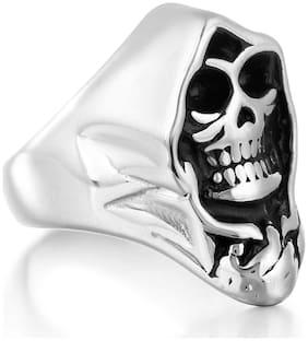 Sukkhi Trendy Skull Faced Rhodium Plated Ring for Men