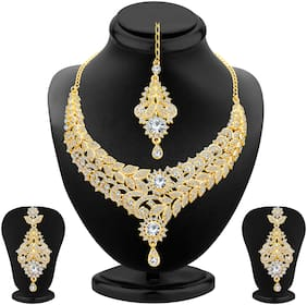 Sukkhi Gleaming Gold Plated Wedding Jewellery Austrian Diamond Choker Necklace Set For Women