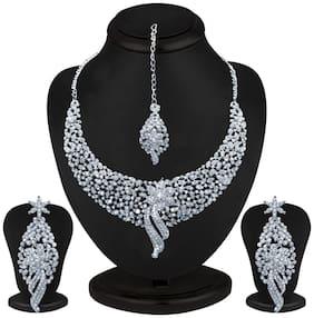 Sukkhi Rhodium Plated Australian Diamond Necklace Set for Women