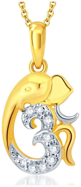 Sukkhi Gorgeous Gold And Rhodium Plated CZ Om Ganesha God Pendant With Chain