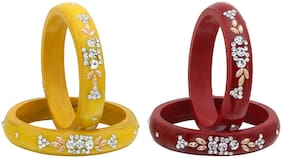 Sukriti Casual Everyday Wear Fancy Red Yellow Lac Bangles Combos - Pack of 4