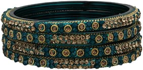 Sukriti Handcrafted Glossy Zircon Crystal Glass Teal Bangles for Women   Set of 4
