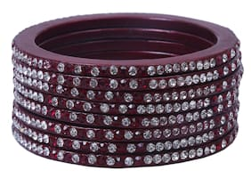 Sukriti Handcrafted Maroon Lac Bangles for Women - Set of 8
