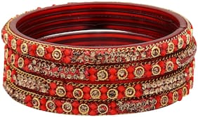 Sukriti Handcrafted Glossy Zircon Crystal Glass Red Bangles for Women   Set of 4