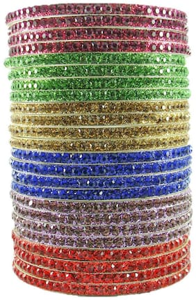 Sukriti Partywear Traditional Brass Multi Bangles for Women - Set of 24