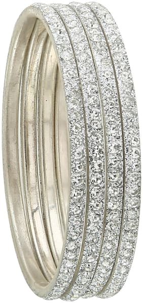 Sukriti Partywear Traditional Brass White Bangles for Women - Set of 4