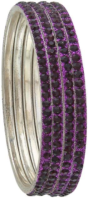 Sukriti Partywear Traditional Brass Purple Bangles for Women - Set of 4