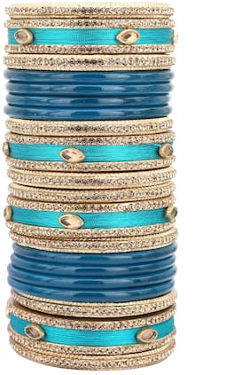 Sukriti Rajasthani Silk Thread Lac Chuda Blue Bangles Bridal Jewelry for Women