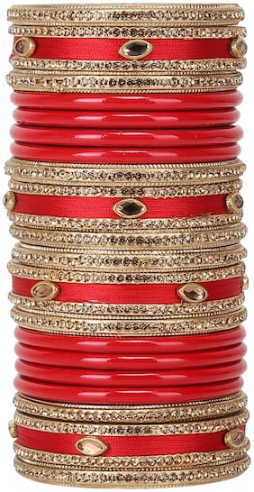 Sukriti Rajasthani Wedding Silk Thread Lac Chuda Red Bangles Bridal Jewelry for Women - set of 20