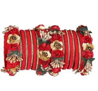 Sukriti Stylish Designer Party Wedding wear Flower Silk Thread Red Bangles for Girls & Women   Set of 18