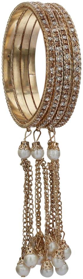 Sukriti Stylish Designer Party Wear Tassel Gold & White Bangles For Girls & Women Set Of 4