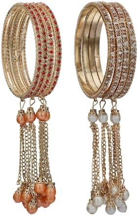 Sukriti Stylish Designer Party Wear Tassels Bangles Combo For Girls & Women Set Of 8