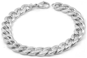 Sullery 10mm width Curban Curb Link Chain Silver Stainless Steel Bracelet For Men And Women