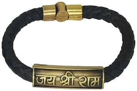 Sullery Jai Shree Ram Charm ID Black  Leather Stainless Steel Bracelet