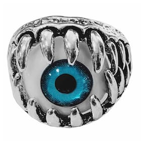 Sullery Punk Gothic Evil Eye Retro Vintage Claw Teeth Metal Hip Hop Cool Party Blue Ring