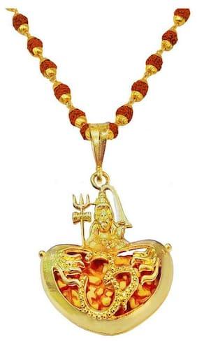 Sullery Religious Jewellery Lord Shiv Om Ekmukhi Rudraksha Gold Brass Locket Mala