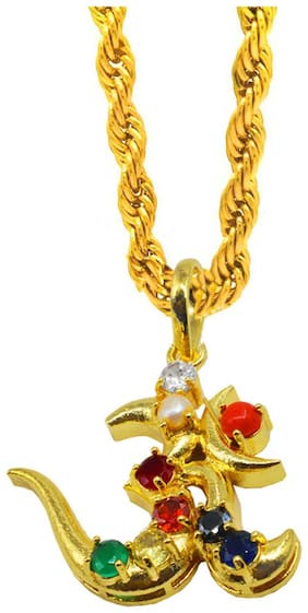 Sullery Religious Jewellery Trishul Om Locket With Chain