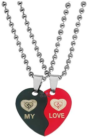 Sullery Valentine Day Gift My Love Broken Heart Couple Dual Locket With 2 Chain Red And Black Stainless Steel Pendant