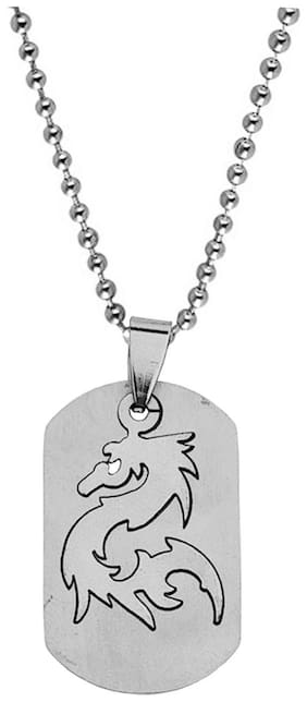 Sullery Vintage Laser Cut Army Dog Tag Soldier Dragon Locket With Chain Silver Stainless Steel Animal Pendant Chain For Men
