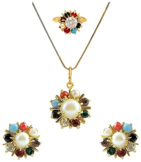 Sunhari Jewels Navratan Stylish Gold Plated Pendant Set with Earrings;Ring;Chain for Women And Girls