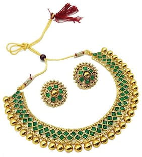 Sunhari Jewels Green Metallic Necklace Sets With Earrings For Womens and Girls