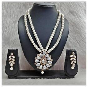 Tahira Fashion Jewellery Antique White Designer Kundan Necklace Set With Earring